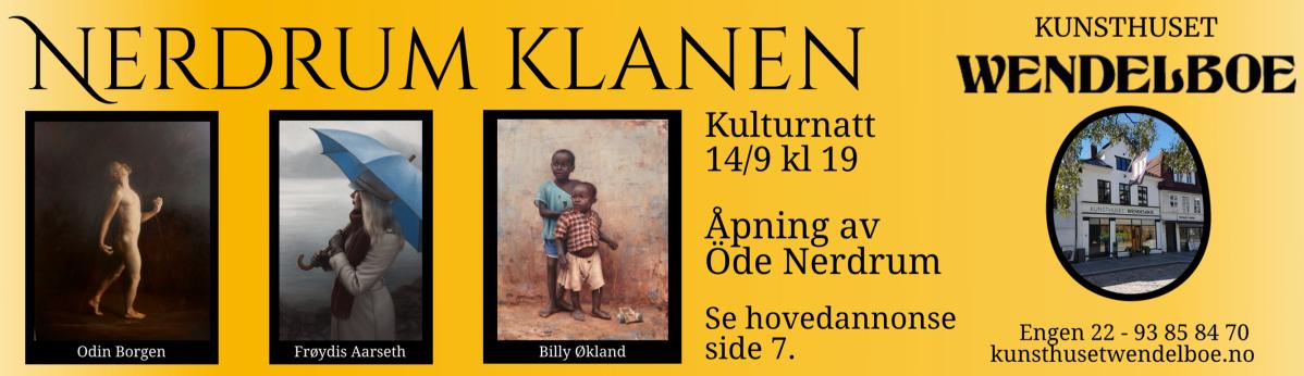 Nerdrum Klanen inntar Kunsthuset Wendelboe kulturnatt 14.september