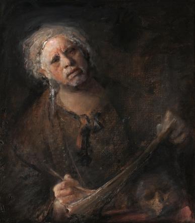 self portrait with child skull